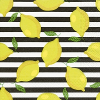 Servietten 33x33 cm - Lemons on stripes