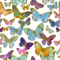 Servietten 33x33 cm - Golden butterflies