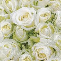 Servietten 33x33 cm - Weiße Rosen