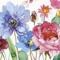 Servietten 33x33 cm - Watercolour flowers