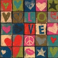 Servietten 33x33 cm - Liebe und Frieden
