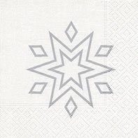 Servietten 25x25 cm - Starry white/silver
