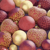Servietten 24x24 cm - Shiny red baubles