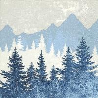 Servietten 25x25 cm - Forest silhouette blue