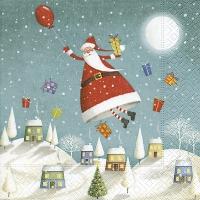 Servietten 25x25 cm - Schwebender Weihnachtsmann