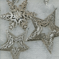 Servietten 33x33 cm - Metallic stars