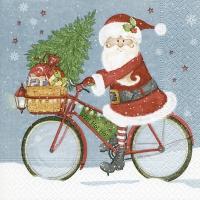 Lunch Servietten Santa on a bike