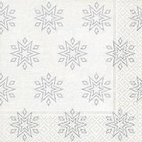 Servietten 33x33 cm - Starry white/silver