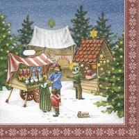 Servietten 33x33 cm - Weihnachtsmarktszene