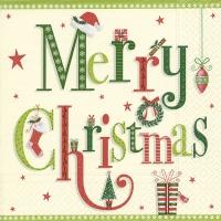 Servietten 33x33 cm - Christmas letters