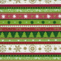 Servietten 33x33 cm - Xmas stripes