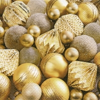 Servietten 33x33 cm - Shiny gold baubles