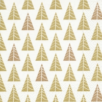 Servietten 33x33 cm - Pointed trees gold