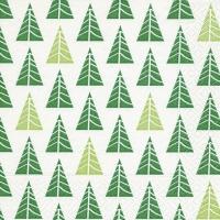 Servietten 33x33 cm - Pointed trees green