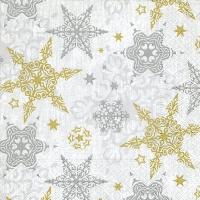 Servietten 33x33 cm - Delicate stars silver