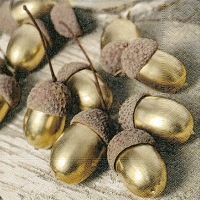 Servietten 33x33 cm - Golden acorns