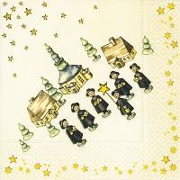 Servietten 33x33 cm - Weihnachtssänger
