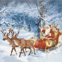 Servietten 33x33 cm - Santa on tour