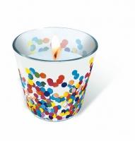 Glaskerze - Confetti