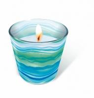 Glaskerze - Blaue Wellen