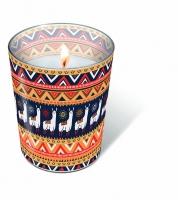 Glaskerze - Alpaka pattern