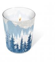 Glaskerze - Glaskerze Forest silhouette blue