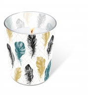 Glaskerze - Glaskerze Coloured feathers