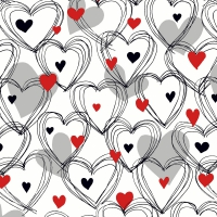 Servietten 24x24 cm - Shower of hearts red