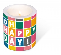 Dekorkerze - Decorated Candle Happy Day