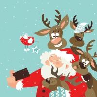 Servietten 33x33 cm - Selfie Santa