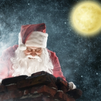 Servietten 33x33 cm - Peeping Santa