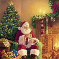Servietten 33x33 cm - Santa at Home
