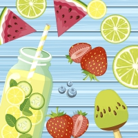 Servietten 33x33 cm - Summer fruits