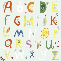 Servietten 33x33 cm - Alphabet