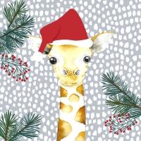 Servietten 33x33 cm - Giraffe santa