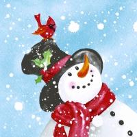 Servietten 33x33 cm - Happy snowman