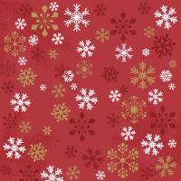 Servietten 24x24 cm - Traditional snow red