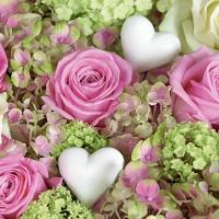 Servietten 33x33 cm - White hearts in roses