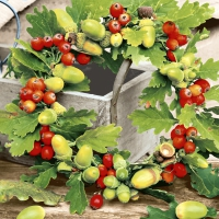 Servietten 33x33 cm - Oak wreath