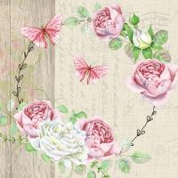 Servietten 33x33 cm - Roundel of roses