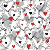 Servietten 33x33 cm - Shower of hearts red