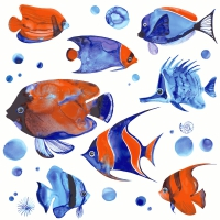 Servietten 33x33 cm - Tropical fish