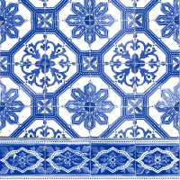 Servietten 33x33 cm - Blue tiles