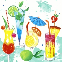 Servietten 33x33 cm - Colourful drinks