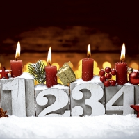 Servietten 33x33 cm - Four candles