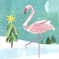 Servietten 33x33 cm - Winter flamingo