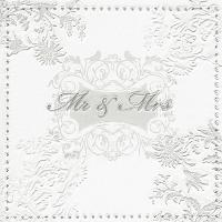 Servietten 33x33 cm - Moments Mr. & Mrs. silver