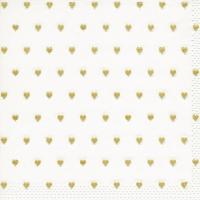 Servietten 33x33 cm - Moments Petits coeurs gold