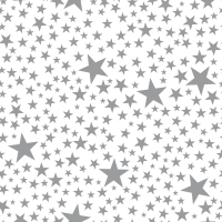 Servietten 24x24 cm - Starlets white/silver