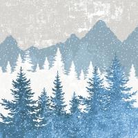 Servietten 24x24 cm - Forest silhouette blue